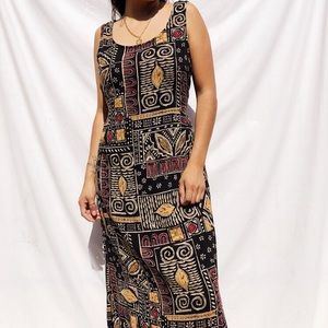 Vintage print maxi dress with back tie